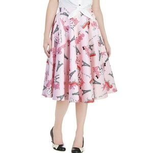 Bettie Page poodles in Paris pink circle skirt
